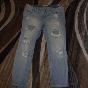 Ripped denim jeans by Torrid size 18 short